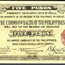 Billetes extranjeros: CMC FILIPINAS (PHILIPPINES) 5 PESOS 1942 PICK S648 EBC. Lote 140007170