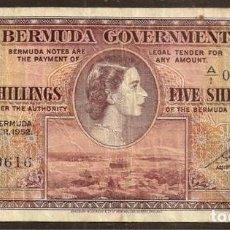 Billetes extranjeros: BERMUDA (BERMUDAS). 5 SHILLINGS 20.10.1952. PICK 18 A. SERIE A/1. Lote 140179628