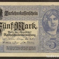 Billetes extranjeros: ALEMANIA. 5 MARK 1.8.1917. PICK 56B.. Lote 140188268