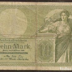 Billetes extranjeros: ALEMANIA. BILLETE DE 10 MARK 06.10.1906. PICK 9B. BONITO.. Lote 140188345