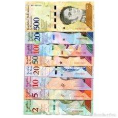 Billetes extranjeros: NUEVOS VENEZUELA 2 5 10 20 50 100 200 500 BOLIVARES SOBERANO 2018 UNC FULL SET 8 PCS. Lote 147014981
