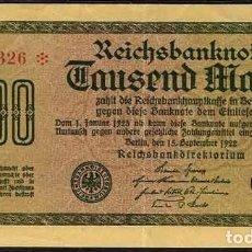 Billetes extranjeros: BILLETE DE 1.000 MARCOS DE ALEMANIA DEL AÑO 1922 . Lote 140465302