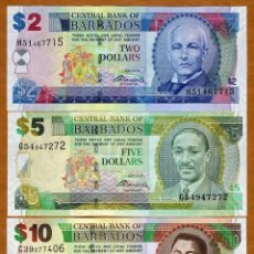 Billetes extranjeros: BARBADOS, SET, 2;5;10 DOLLARS 2007 P-66B-67B-68B UNC. Lote 143714300