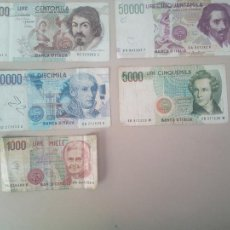 Billetes extranjeros: SERIE 5 BILLETES LIRAS ITALIANAS. Lote 140900690
