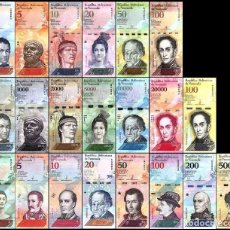 Billetes extranjeros: VENEZUELA FULL SET 21 PCS BOLIVARES Y SOBERANO 2007 - 2018 UNC. Lote 142447826
