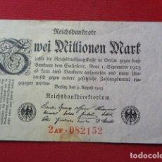 Billetes extranjeros: ALEMANIA. 2 MILLONES MARCOS. 1923. UNIFACE. Lote 155932506