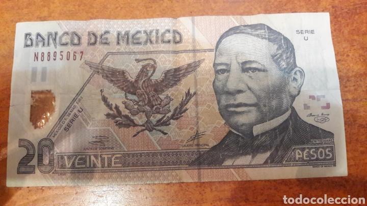 BILLETE MEXICO 20 PESOS 2002 SERIE U (Numismática - Notafilia - Billetes Internacionales)