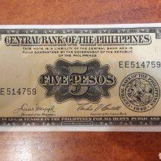 Billetes extranjeros: BILLETE PHILIPPINES 5 PESOS 1949 NUEVO EE 514759 N..135. Lote 141536260