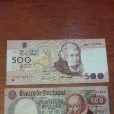 Billetes extranjeros: BILLETES PORTUGAL 500 ESCUDOS 1979 Y 1989. Lote 141559577