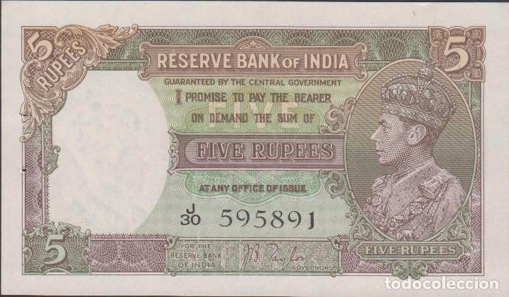 BILLETES - INDIA 5 RUPIAS (1937) SERIE J/30 - PICK-18A (SC) (Numismática - Notafilia - Billetes Extranjeros)