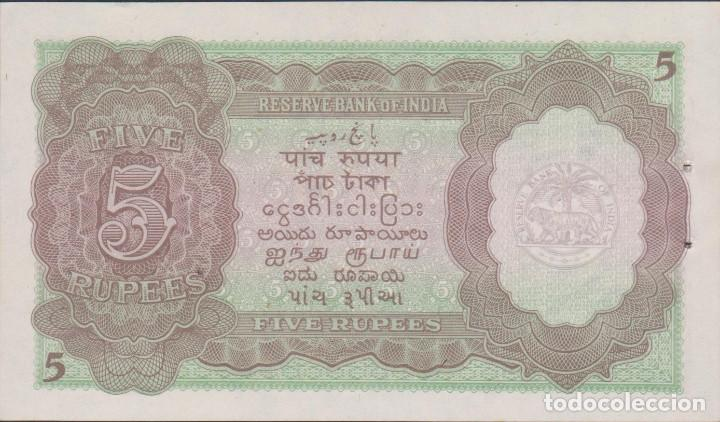 Billetes extranjeros: BILLETES - INDIA 5 RUPIAS (1937) SERIE J/30 - PICK-18a (SC) - Foto 2 - 141703750