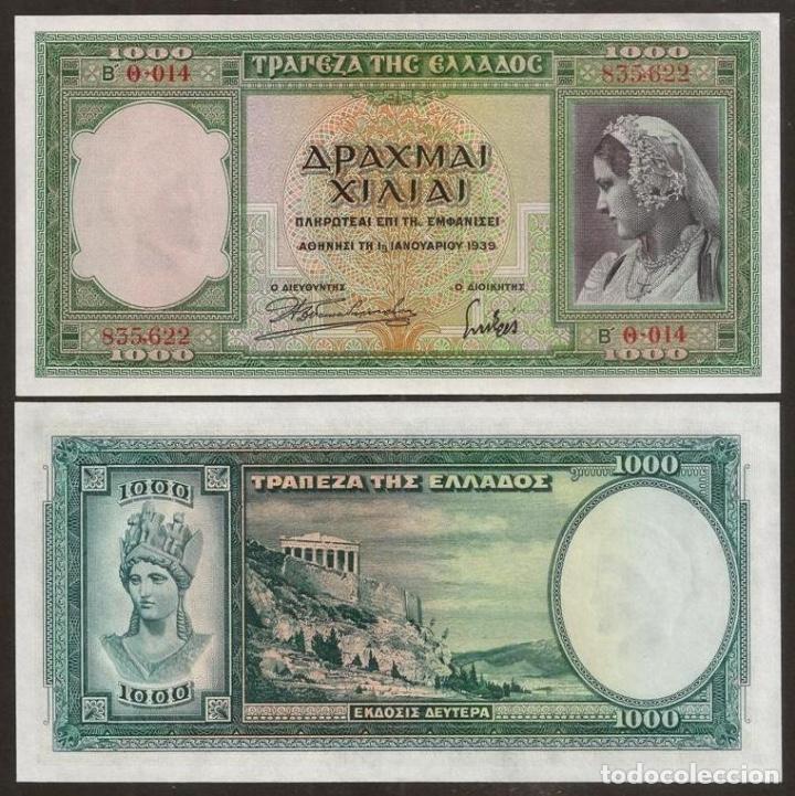 GRECIA. BONITO 1000 DRACHMAI 1.1.1939. PICK 110. PARTENÓN. ATENA. S/C. VER NOTA (Numismática - Notafilia - Billetes Internacionales)