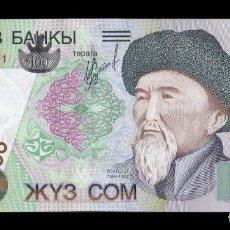 Billetes extranjeros: KIRGUISTAN KYRGYZSTAN 100 SOM 2002 PICK 21 SC UNC. Lote 206972322