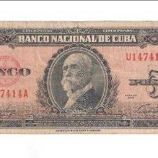 Billetes extranjeros: BILLETE DE 5 PESOS DE CUBA DE 1949.BC. WORLD PAPER MONEY-78A. (BE192). Lote 142171262