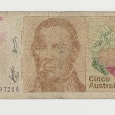 Billetes extranjeros: ARGENTINA- 5 AUSTRALES. Lote 142551534