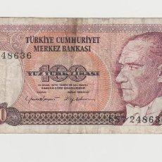 Billetes extranjeros: TURQUIA- 100 LIRASI- 1970. Lote 142732602