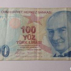 Billetes extranjeros: TURQUÍA 100 LIRAS 2009. Lote 143087701