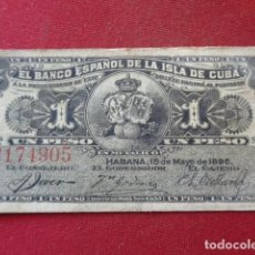 Billetes extranjeros: CUBA. 1 PESO. BANCO ESPAÑOL DE LA ISLA DE CUBA, HABANA 1896. SERIE G. EL DE LA IMAGEN.. Lote 143121686