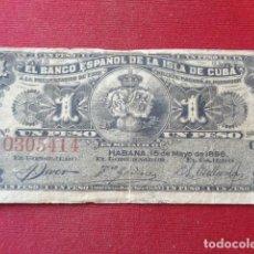 Billetes extranjeros: CUBA. 1 PESO. BANCO ESPAÑOL DE LA ISLA DE CUBA, HABANA 1896. SERIE G. EL DE LA IMAGEN.. Lote 143122142