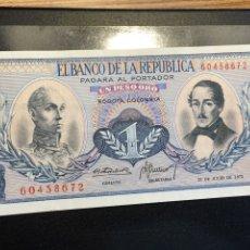 Billetes extranjeros: COLOMBIA P-404E. 1 PESO 1972 AU. Lote 143169670