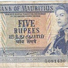 Billetes extranjeros: MAURICIO - MAURITIUS 5 RUPEES 1967 PICK 30C. Lote 143229130