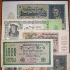 Billets internationaux: ALEMANIA. LOTE DE 6 BILLETES. 500 A 50000 MARCOS. ÉPOCA DE INFLACIÓN. 1922. Lote 143608786