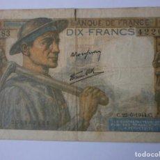 Billetes extranjeros: BILLETE 10 FRANCOS 1944. Lote 143809014