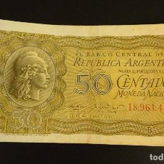 Billetes extranjeros: ARGENTINA 50 CENTAVOS SERIE 1951 1956 Nº 18.961.400 B. Lote 144002450