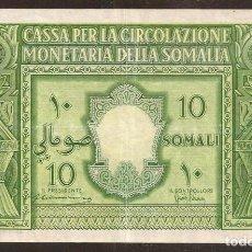 Billetes extranjeros: SOMALIA ITALIANA. 10 SOMALI 1950. PICK 13.. Lote 144165010