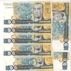 Billetes extranjeros: LOTE 10 BILLETES DE 100 CRUZADOS DE BRASIL DE 1987. PLANCHA. CATÁLOGO WORLD PAPER MONEY-211B. Lote 144376650