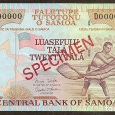 Billetes extranjeros: SAMOA. 20 TALA (2002). PICK 35B S. SPECIMEN Nº73. S/C.. Lote 144485610