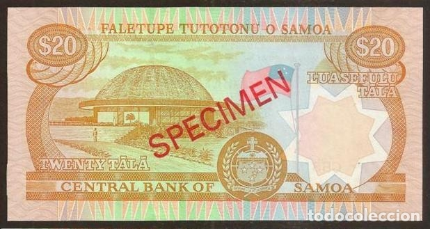 Billetes extranjeros: SAMOA. 20 tala (2002). Pick 35b s. SPECIMEN Nº73. S/C. - Foto 2 - 144485610