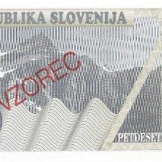 Billetes extranjeros: ESLOVENIA - SLOVENIA 50 TOLARJEV 1990 ESPECIMEN PK 5S.1 SIN CIRCULAR. Lote 144508302