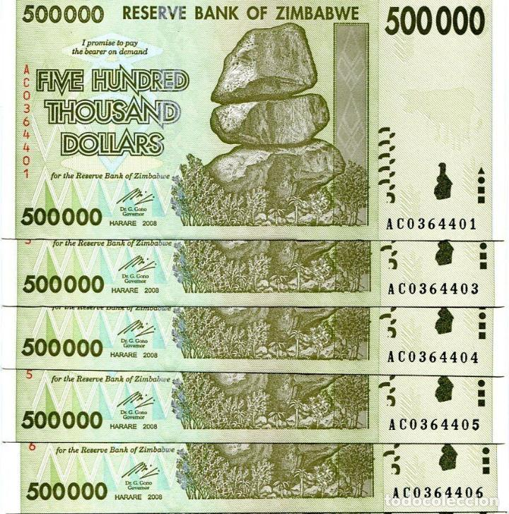 dollars 500,000 P-76 500000 2008 UNC Zimbabwe