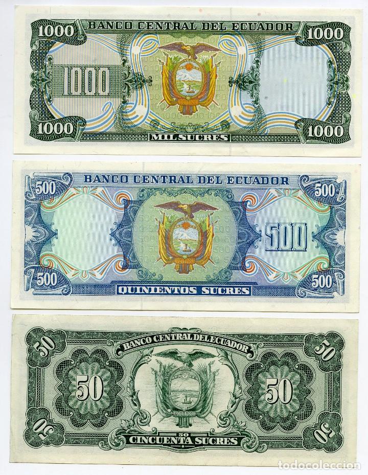 Billetes extranjeros: Ecuador, 1000, 500 y 50 sucres de 1984. Sin circular - Foto 2 - 144631694