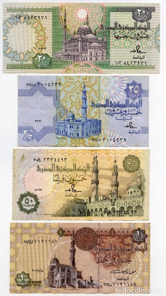 EGIPTO: BILLETES DE 20 Y 1 LIBRAS SIN CIRCULAR, Y DE 25 Y DE 50 PIASTRAS EN MUY BUEN ESTADO (Numismática - Notafilia - Billetes Extranjeros)
