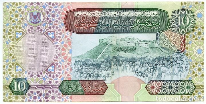 Billetes extranjeros: Libia: 1 billete de 10 dinars, 2 de 1 dinar y 1 de 1/2 dinar - Foto 2 - 144633982