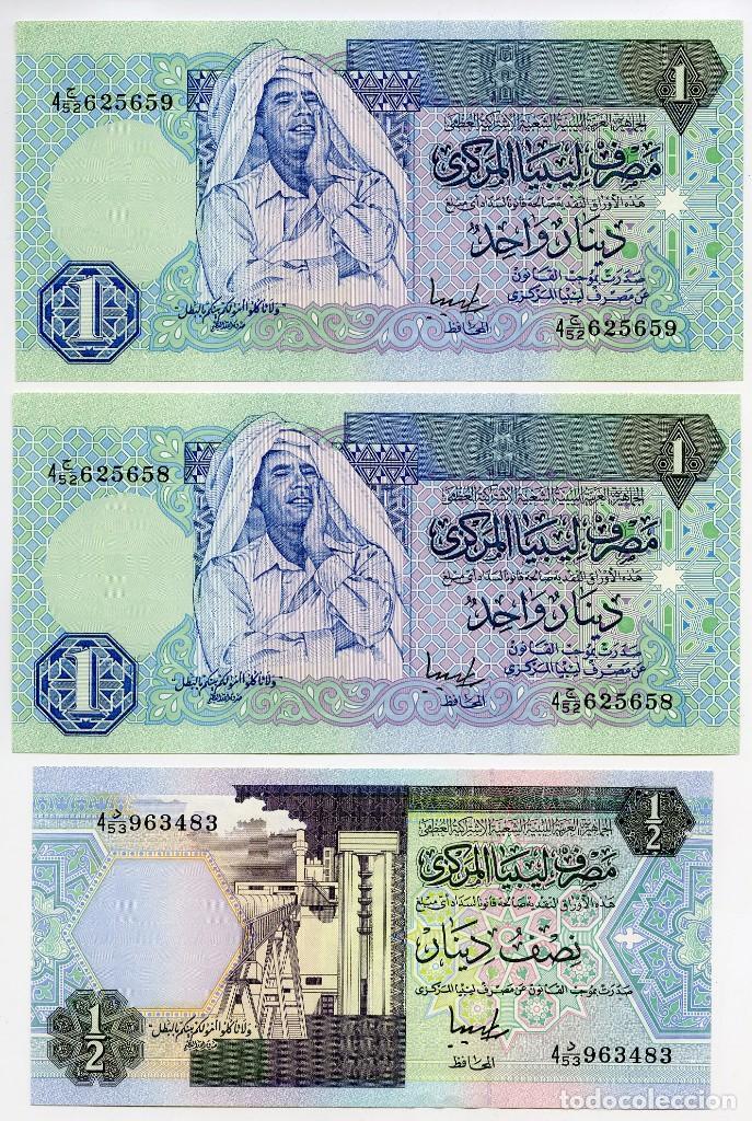 Billetes extranjeros: Libia: 1 billete de 10 dinars, 2 de 1 dinar y 1 de 1/2 dinar - Foto 3 - 144633982
