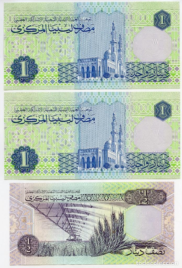 Billetes extranjeros: Libia: 1 billete de 10 dinars, 2 de 1 dinar y 1 de 1/2 dinar - Foto 4 - 144633982