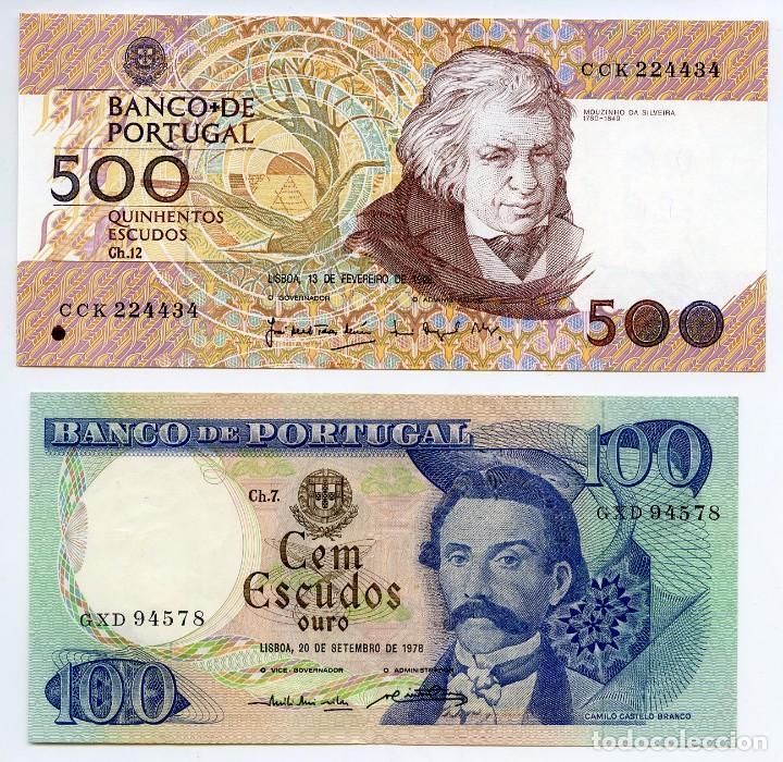 PORTUGAL: 1 BILLETE DE 500 ESCUDOS SIN CIRCULAR Y 1 DE 100 ESCUDOS CON LIGERAS DOBLECES (Numismática - Notafilia - Billetes Extranjeros)