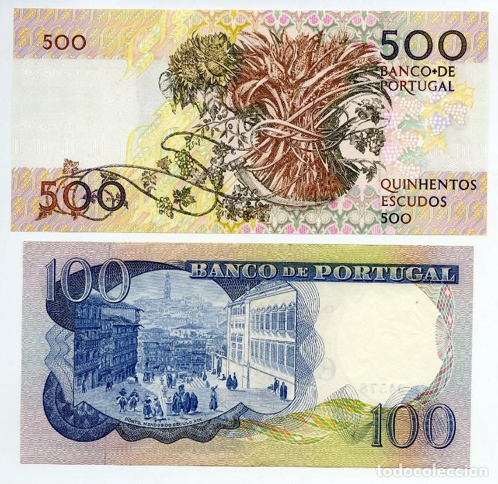 Billetes extranjeros: Portugal: 1 billete de 500 escudos sin circular y 1 de 100 escudos con ligeras dobleces - Foto 2 - 144634678