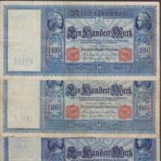 Notas Internacionais: BILLETES - GERMANY-ALEMANIA - LOTE DE 3 BILLETES DE 100 MARK 1908-09-10 - PICK-35-38-42 (BC+/MBC). Lote 144666998