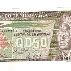 Billetes extranjeros: BILLETE DE 50 CENTAVOS DE QUETZAL DE GUATEMALA DE 1988. SIN CIRCULAR. WORLD PAPER MONEY-65. (BE455). Lote 210731411