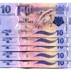 Billetes extranjeros: FIJI 10 DOLLARS ND(2013) P-116 UNC LOT 5 PCS. Lote 145125642
