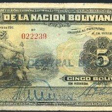 Billetes extranjeros: CMC BOLIVIA 5 BOLIVIANOS 1911 PICK 105-A BC. Lote 145161722