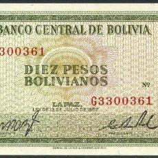 Billetes extranjeros: CMC BOLIVIA 10 PESOS BOLIVIANOS 1962 PICK 154-A SC. Lote 145163574