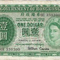 Billetes extranjeros: HONG KONG 1 DOLLAR 1-7-1959 PICK 324AB. Lote 145211946