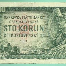 Billetes extranjeros: CHECOSLOVAQUIA BILLETE DE 100 KORUM 1961. Lote 191262753
