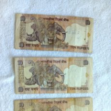 Billetes extranjeros: 3 BILLETES DE 10 RUPIAS INDIA EMISION 1996. Lote 146095942