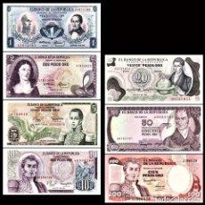 Billetes extranjeros: COLOMBIA 1+2+5+10+20+50+100 PESOS BRANDNEW BANKNOTES SET 7PCS. Lote 146172222